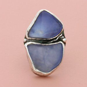 sterling silver artisan-made chalcedony ring